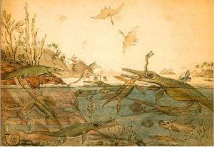 """Essa é a imagem escolhida como símbolo para o evento e vou usar aqui para identificar os posts sobre esse encontro. Trata-se de """"Duria Antiquior - a more ancient Dorsetshire"""" (1830), aquarela do geólogo Henry Thomas de la Beche (1796-1855) representando a vida pré-histórica em Dorset, baseada em fósseis encontrados por Mary Anning. Clique na imagem para vê-la em tamanho maior e para acessar o site do evento."""