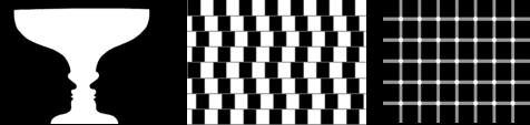 (a) você vê um vaso ou duas faces frente a frente?; (b) as linhas são paralelas ou convergentes?; (c) os pontos nos cruzamentos são brancos ou pretos? (clique na imagem para ver a fonte, diversas outras figuras de ilusão visual e uma ótima explicação neurocientífica para elas de dois pesquisadores alemães).