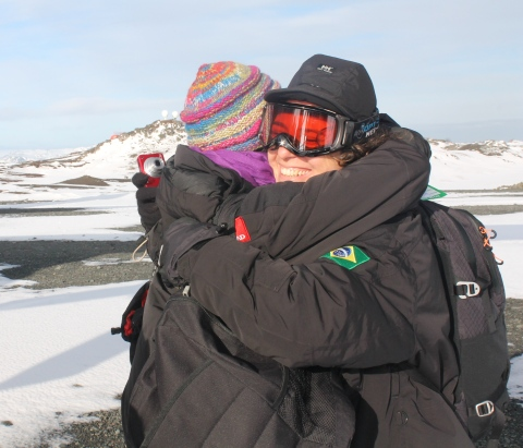A alegria de finalmente chegar ao continente gelado!